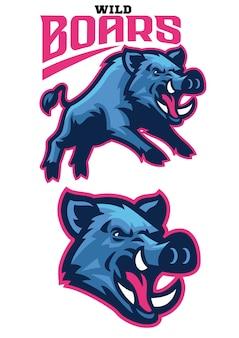 Set bund; e sport wildschwein maskottchen