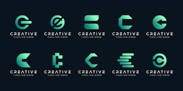 Set-bundle-monogramm-buchstabe-c-logo-design