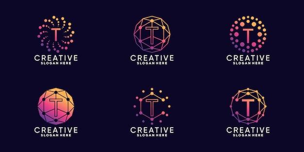 Set bundle monogramm logo design technologie anfangsbuchstaben t mit linear- und punktstil premium-vektor