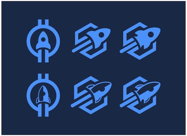 Set bundle rakete startup logo inspiration