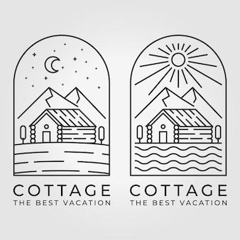 Set bundle von cabin cottage line art logo vector illustration design sonne mond berg