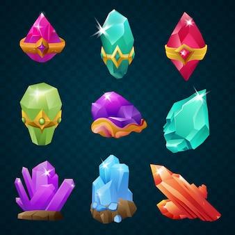 Set bunte edelsteine der magischen energieedelsteine mit amulettgurtformen. spiel-design-elemente