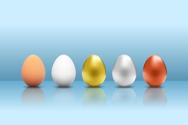 Set bunte metallische eier