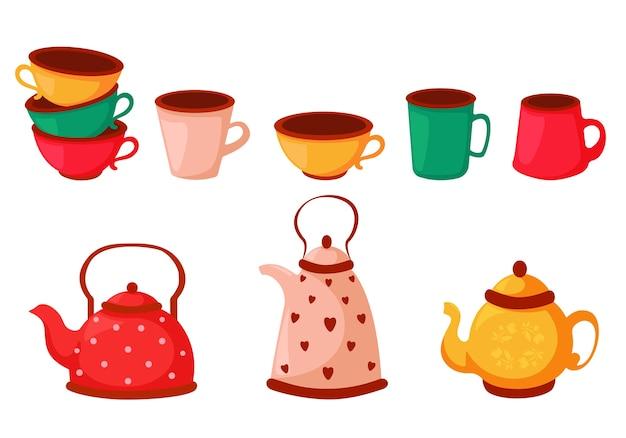 Set bunte teetassen, kaffeetassen und wasserkocher. geschirr gesetzt.