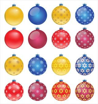 Set bunte weihnachtskugeln