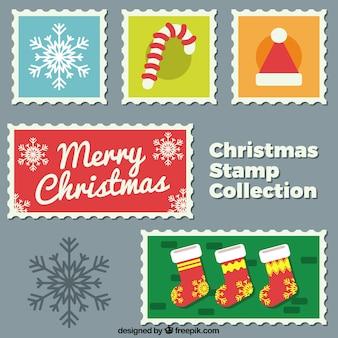 Set bunte weihnachtsstempel