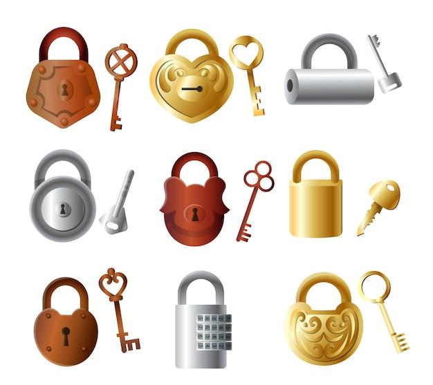 Set buntes metall vorhängeschloss mit schlüsseln, gold, silber, bronze farbe