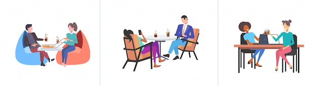 Set businespeople kollegen diskutieren während der kaffeepause mix race geschäftsleute sitzen am arbeitsplatz kommunikationskonzepte sammlung in voller länge horizont