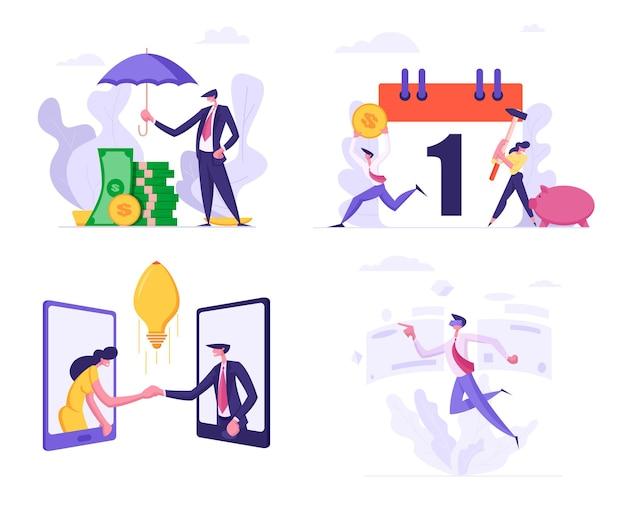 Set business man cover haufen von banknoten geld mit regenschirm illustration