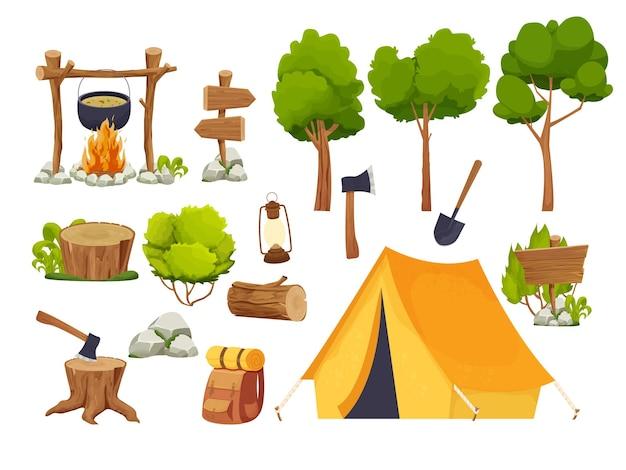 Set campingausrüstung lagerfeuerzelt laterne schaufel und axt reiserucksack holzscheit und stumpf f