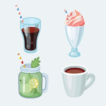Set cartoon-essen: alkoholfreie getränke - tee, kräutertee, heiße schokolade, latte, mate, kaffee