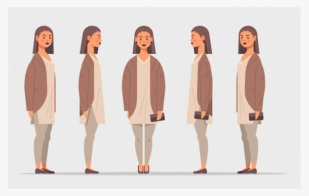 Set casual girl teenager vorderansicht weibliche zeichentrickfigur verschiedene ansichten für animation