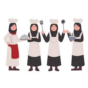 Set character design von little hijab girl chef niedlichen cartoon