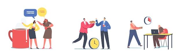 Set-charaktere treffen sich für fika, schwedische kaffeepause mit freunden, treffen im café oder in der bar. junge leute, die im restaurant essen, bäckerei essen, kommunizieren, chatten. cartoon-menschen-vektor-illustration