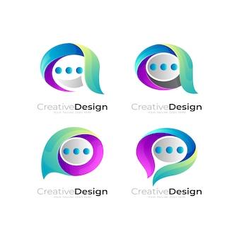 Set chat-logo-design-kombination, kommunikationssymbol
