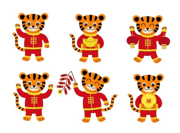 Set chinesischer tiger chinesisches neujahr 2022 mit süßem cartoon-tiger im roten kostüm