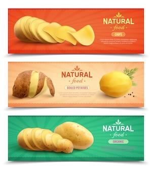 Set chips gekochtes produkt und rohe wurzeln realistisch