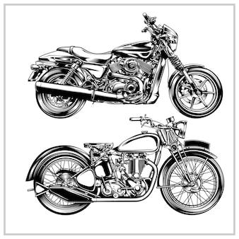 Set classic motorcycle illustration graphic vol 2