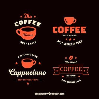 Set coffee-shop abzeichen im vintage-stil