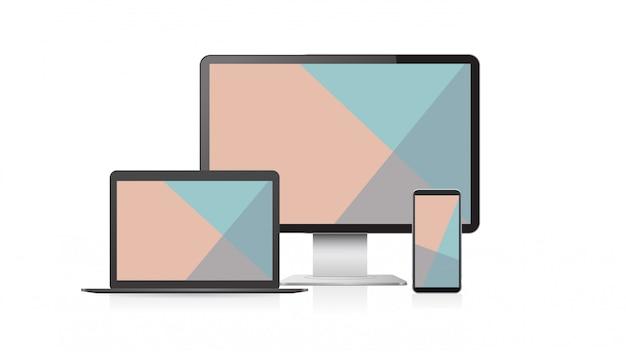 Set computer monitor laptop und smartphone mit farbigen bildschirmen realistische modell gadgets und geräte