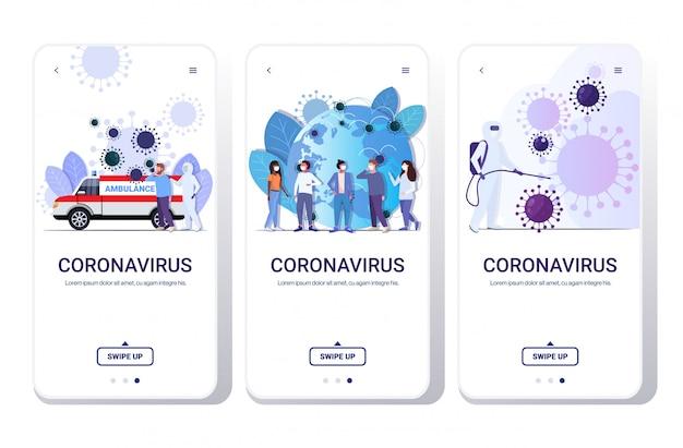 Set coronavirus-zellen epidemie mers-cov-virus schwimmende influenza-grippe verbreitung der welt konzepte sammlung wuhan 2019-ncov gesundheitsrisiko in voller länge telefon bildschirme mobile app