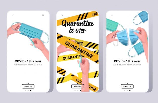 Set covid-19-virus-pandemie ist über coronavirus-quarantäne-ende