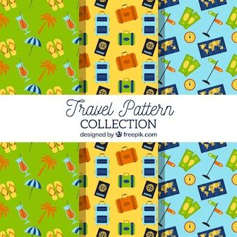 Set de patrones coloridos con elementos de viaje en diseño plano