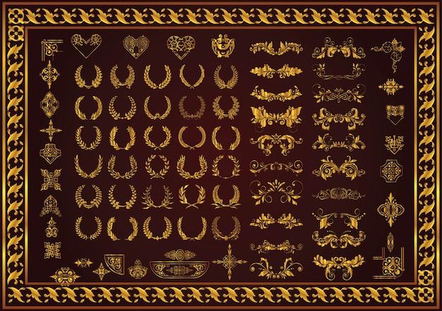 Set dekorative elemente und abzeichen lorbeerkränze