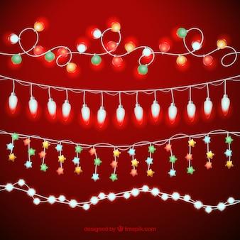 Set dekorative weihnachtslichter