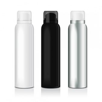 Set deo-spray für frauen oder männer. schablone der metallflasche mit transparentem verschluss