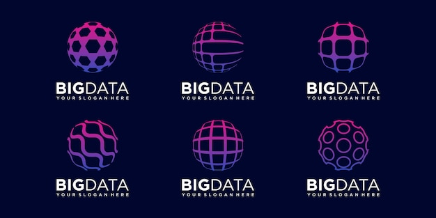 Set der abstrakten welt digitale logo-design-vektor-vorlage.