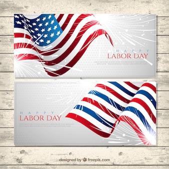 Set der amerikanischen flagge arbeits tag banner
