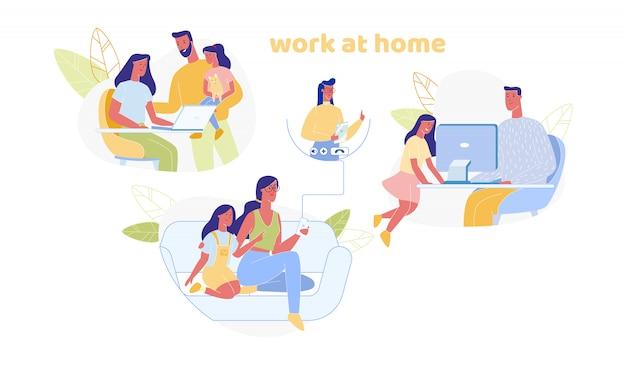 Set der arbeit zu hause getrennt