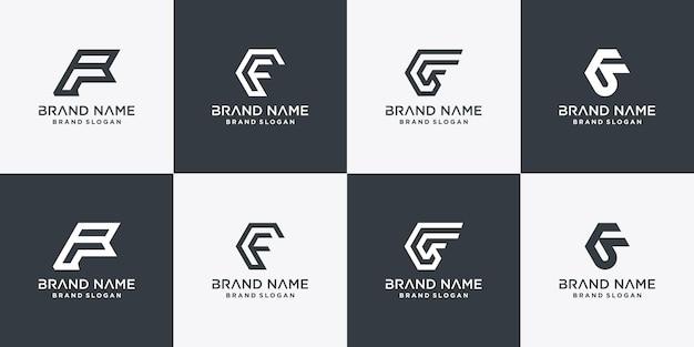 Set der f-logo-sammlung für die erste firma oder person premium-vektor