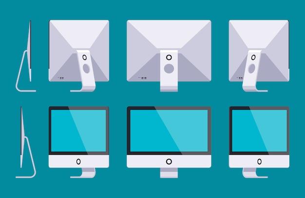 Set der generischen monoblock-computer. die objekte werden vor dem dunkelblauen hintergrund isoliert und von verschiedenen seiten dargestellt