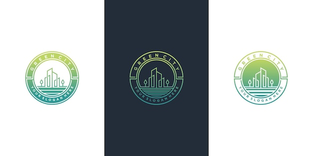 Set der grünen stadtlogo-designsammlung mit modernem emblemlinie kunststil premium vektor