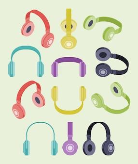 Set der isometrischen farbigen kopfhörer
