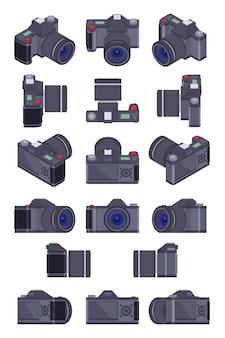 Set der isometrischen fotokameras