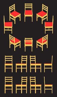 Set der isometrischen gelben stühle
