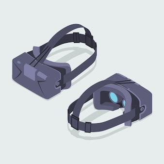 Set der isometrischen headsets für virtuelle realität. die objekte werden vor dem weißen hintergrund isoliert und von zwei seiten dargestellt
