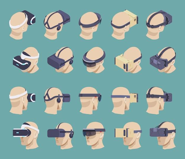 Set der isometrischen headsets für virtuelle realität