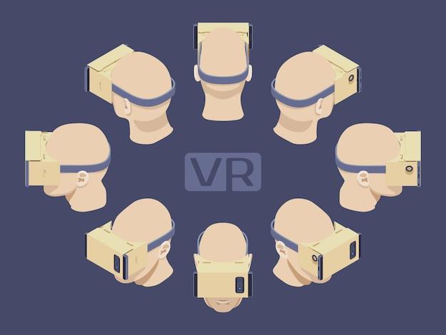 Set der isometrischen kopfhörer der virtuellen realität aus pappe. die objekte werden vor dem dunkelvioletten hintergrund isoliert und von verschiedenen seiten dargestellt