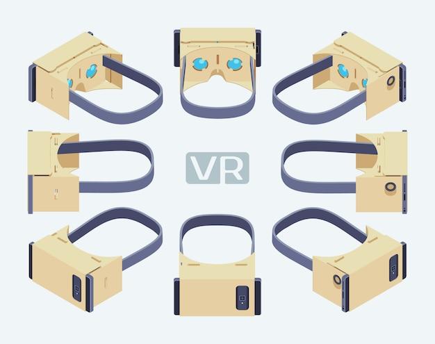 Set der isometrischen kopfhörer der virtuellen realität aus pappe. die objekte werden vor dem weißen hintergrund isoliert und von verschiedenen seiten dargestellt