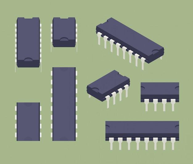 Set der isometrischen mikrochips