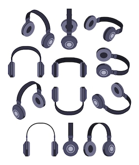 Set der isometrischen schwarzen kopfhörer