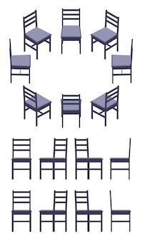 Set der isometrischen schwarzen stühle