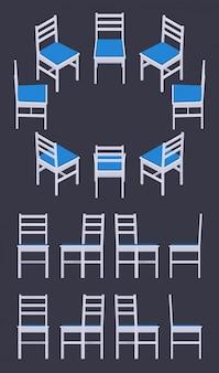 Set der isometrischen weißen stühle