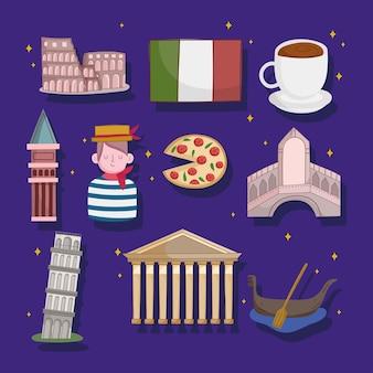Set der italienischen kultur