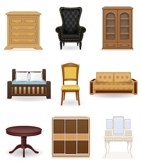 Set der möbelvektorabbildung. sofa, bett, stuhl, schreibtisch, schrank