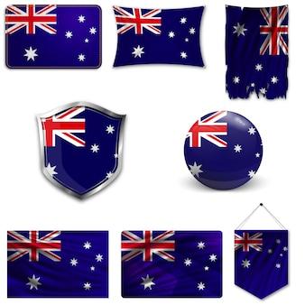 Set der nationalen flagge von australien